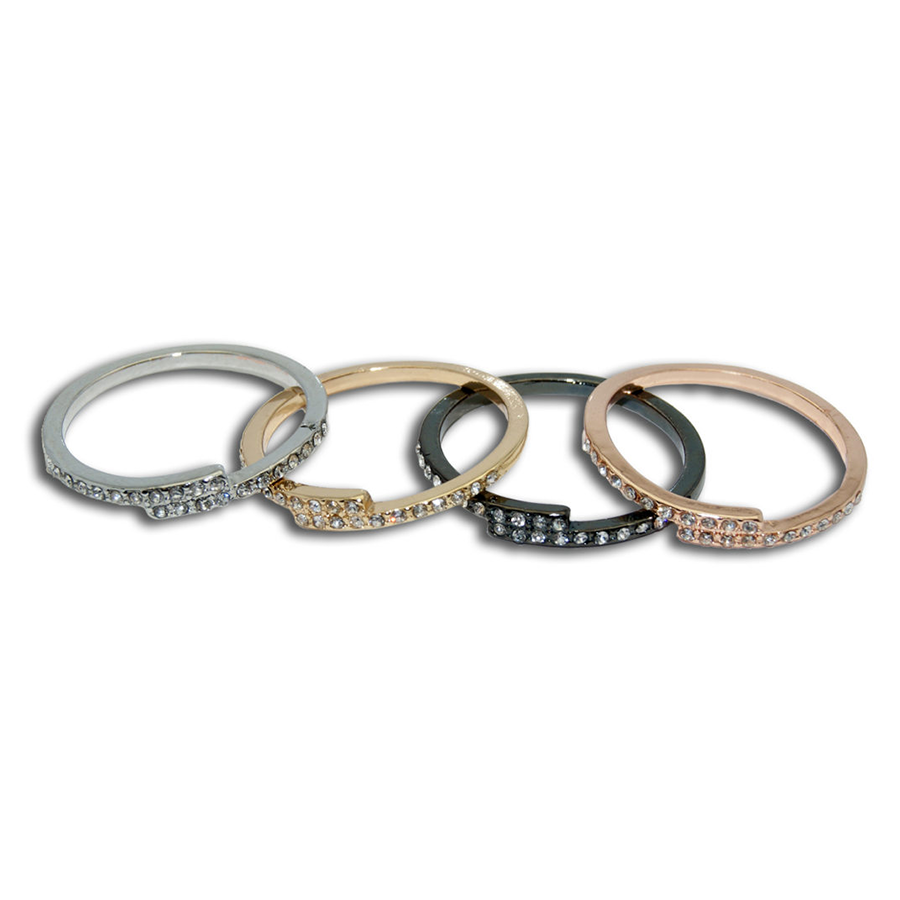 Rhinestone Plus Size Rings Multi-Metals Set
