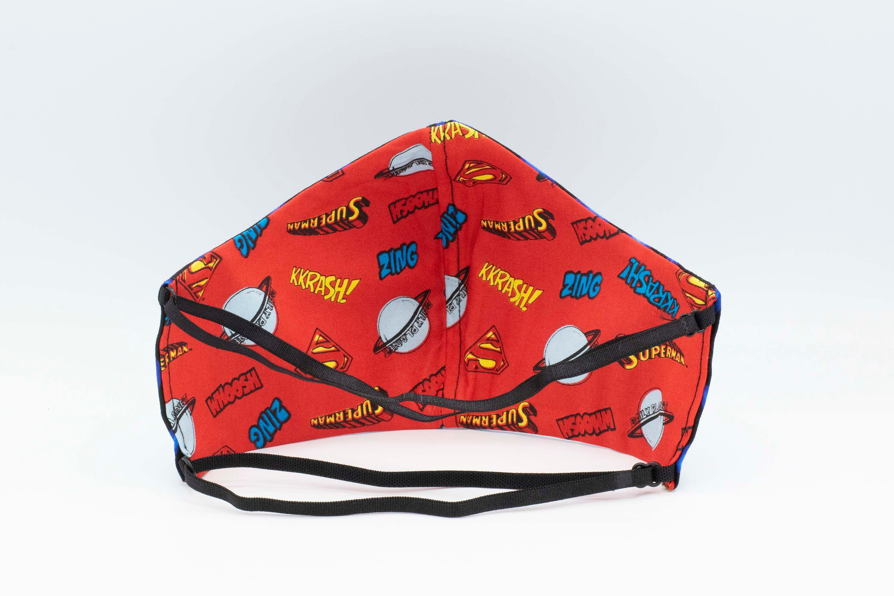 REVERSIBLE Superhero and Flames - 2 Masks for the Price of 1