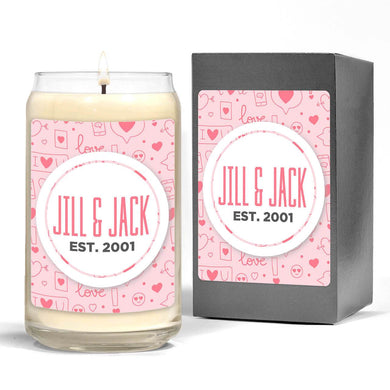 Custom Scented Candle - Valentines Patterns - Monogram That