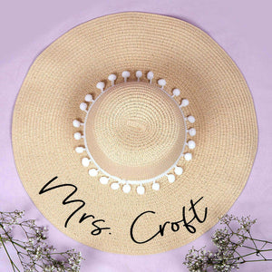 Custom Embroidery Floppy Beach Hat - White Pompoms - Monogram That