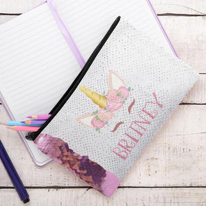Custom Unicorn Sequin Pencil Case - Monogram That
