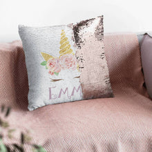 Custom Unicorn Sequin Pillow - Monogram That