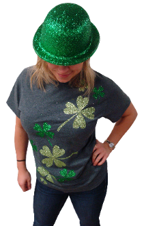 Glitter Shamrock Sash Tee - Monogram That