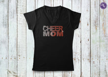 Rhinestone Cheer Mom Fade Ladies V Neck - Monogram That