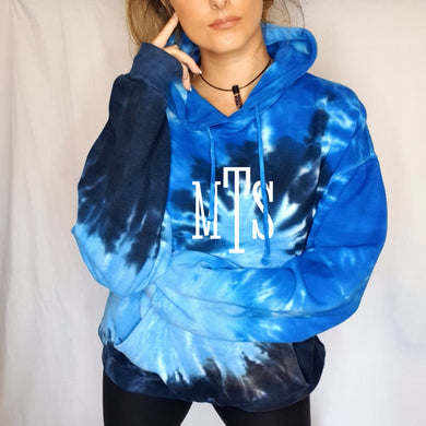 Blue Ocean Monogram Initials Tie Dye Hoodie Sweater - Monogram That