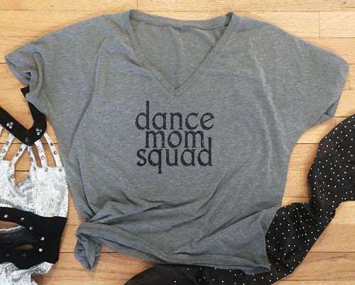 Dance Mom Squad Glitter Slouchy Tee - Monogram That