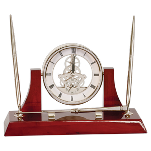 "10 1/2"" x 6"" Executive Silver/Rosewood Piano Finish Clock w/2 Pens/Letter Opener - Monogram That"