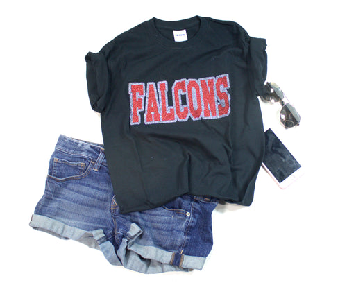 Red and Silver Falcons Glitter Unisex Team Tee