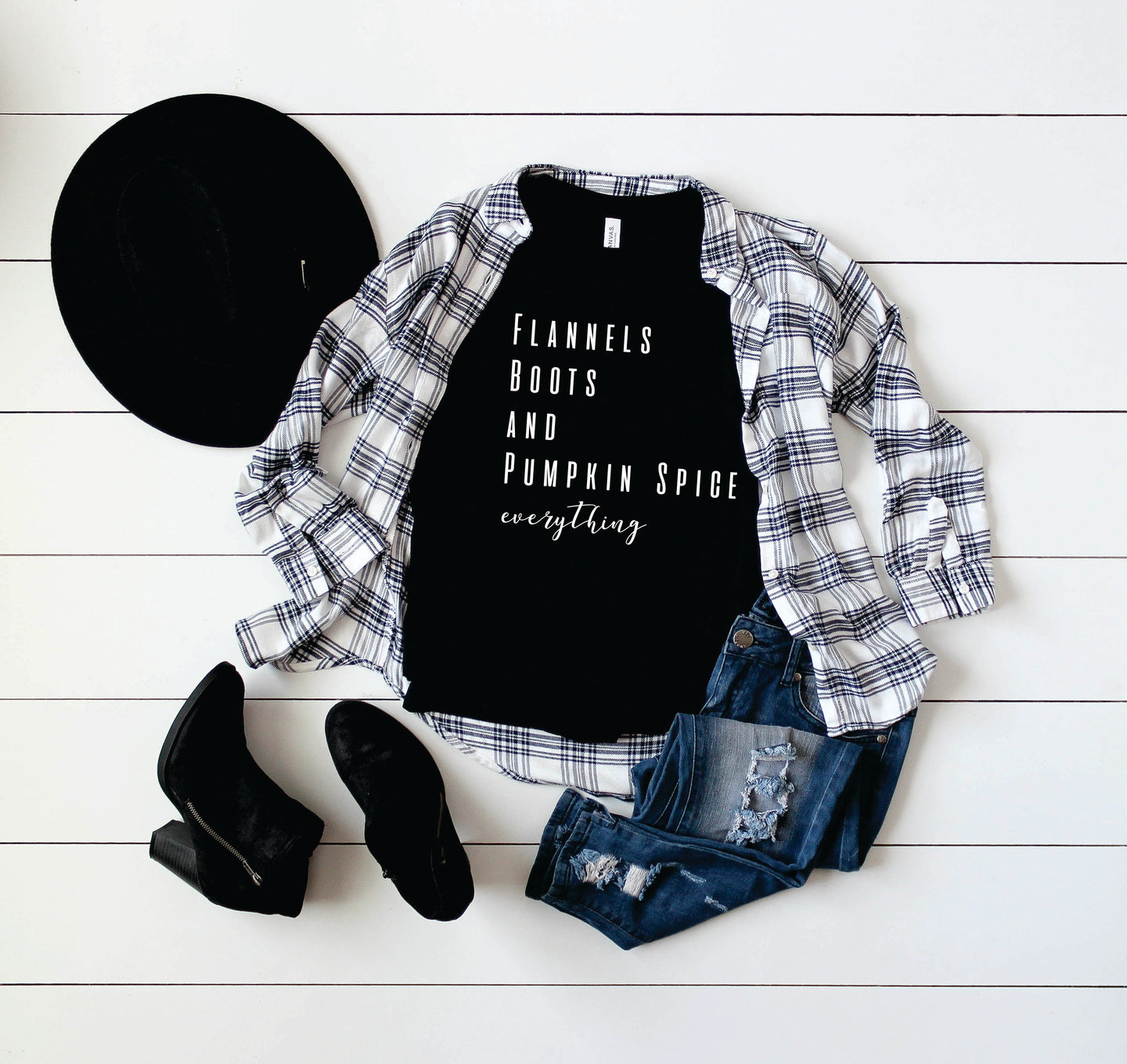 Flannels Boots and Pumpkin Spice Tee - Monogram That