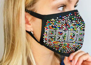 Pride Rainbow Bling Face Mask