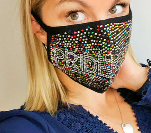 Pride Rainbow Bling Face Mask - Monogram That