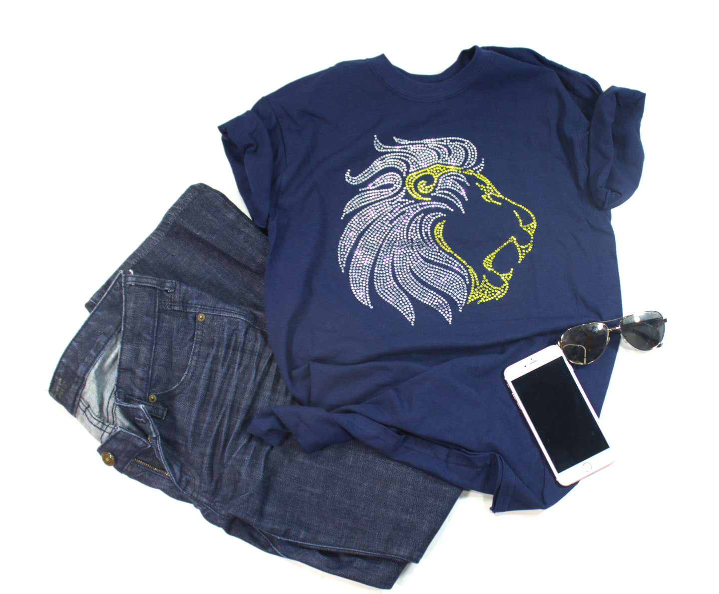 Lion Rhinestone Unisex Team Tee - Monogram That