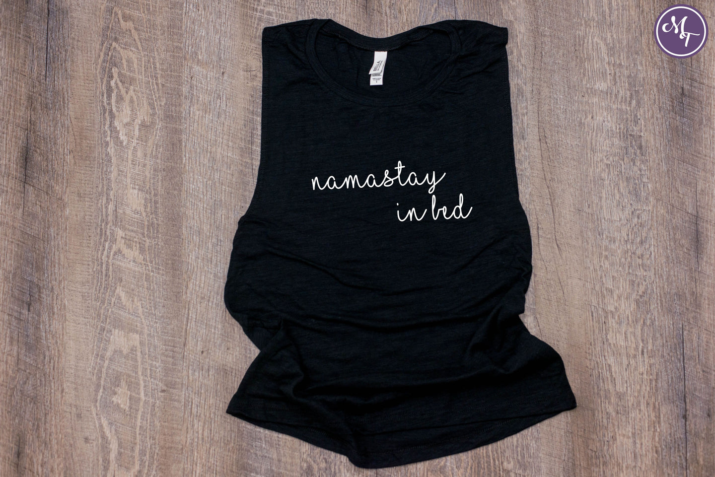 Namastay In Bed Work Out Tank - Monogram That