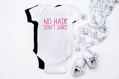 No Hair Don't Care Baby Onesie - Monogram That