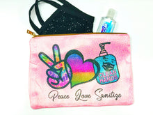 Peace Love Sanitize Mask Holder Zipper Bag - Monogram That