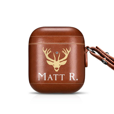 Custom Genuine Leather Airpod Case - Monogram That