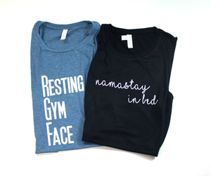 Resting Gym Face & Namasta 2 Pack Work Out Tanks - Monogram That