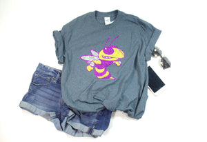 Purple and Yellow Yellow Jackets/Hornets Rhinestone Unisex Team Tee - Monogram That