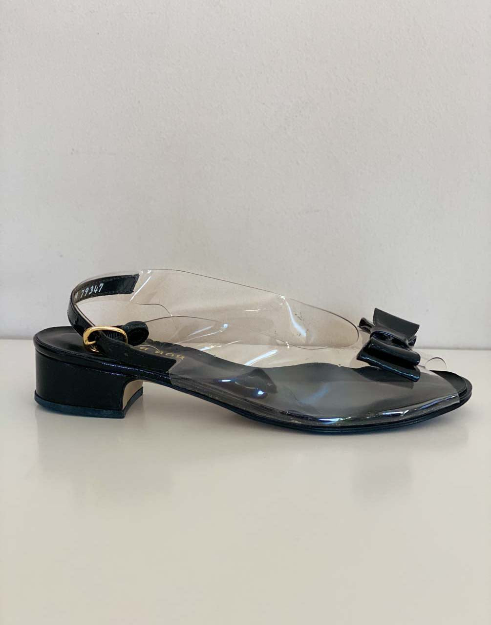 Clear and black slingback