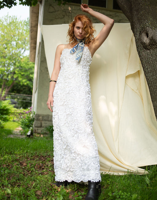 Ribbon Embroidered Maxi Dress