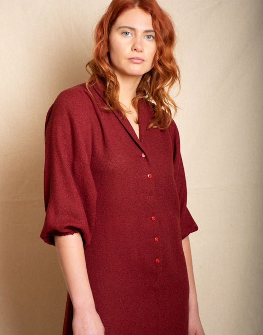 Burgundy Shirt Dress - Vintage