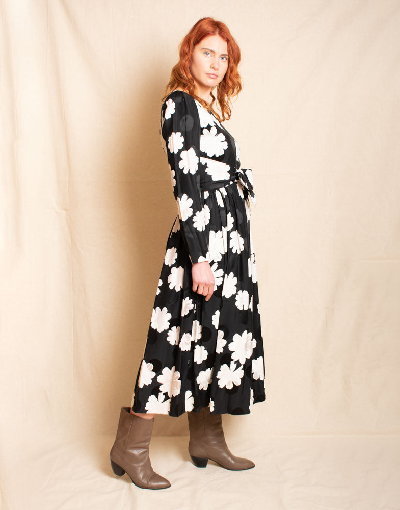 Silk Floral Long Sleeved Dress