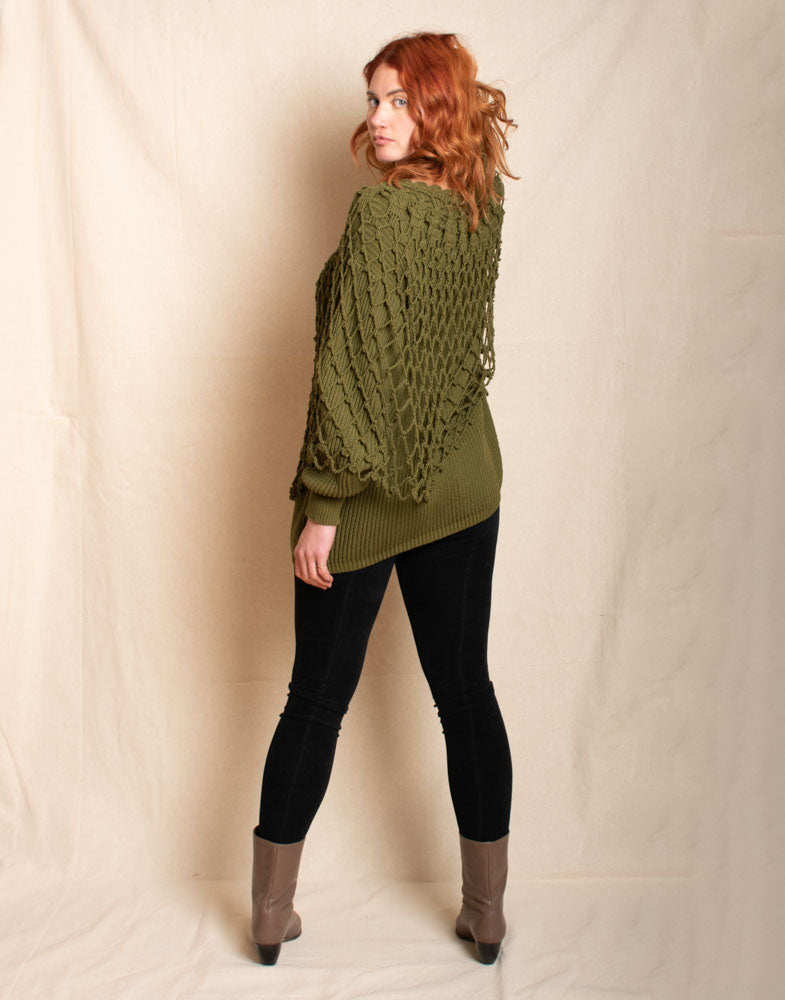 Green Tunic Sweater with Net Overlay