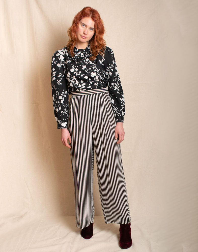 Striped, Wide-leg Pant