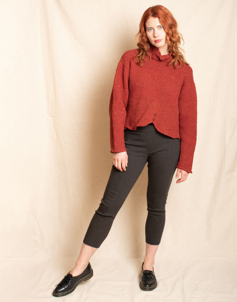 Red Crop Sweater with Buttons