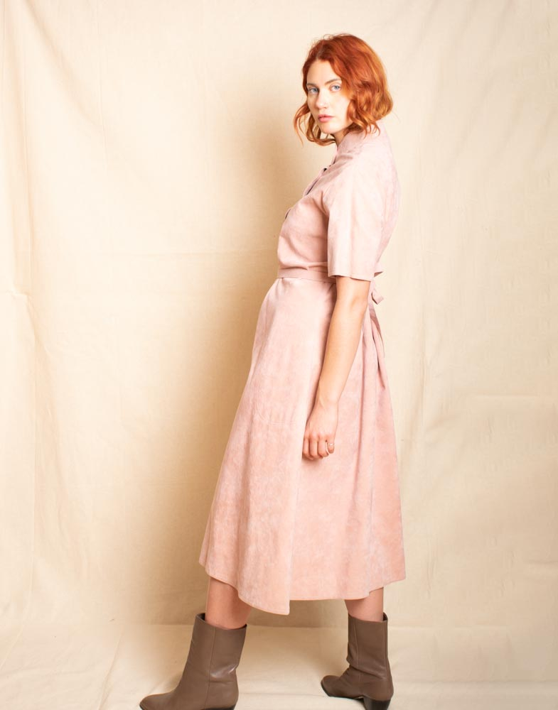 Dusty pink microsuede dress