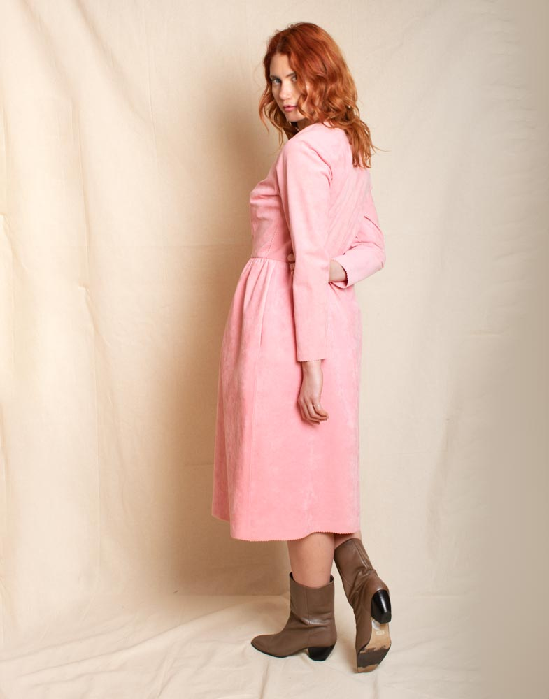 Pink microsuede dress