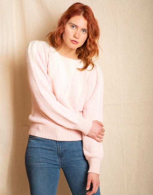 Baby pink and white angora sweater