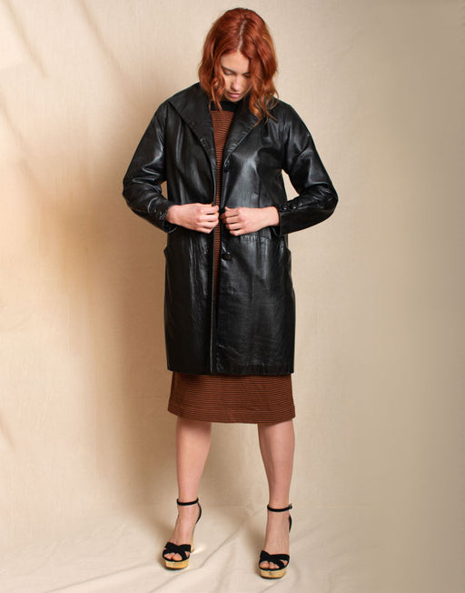 Black Leather Coat - Vintage