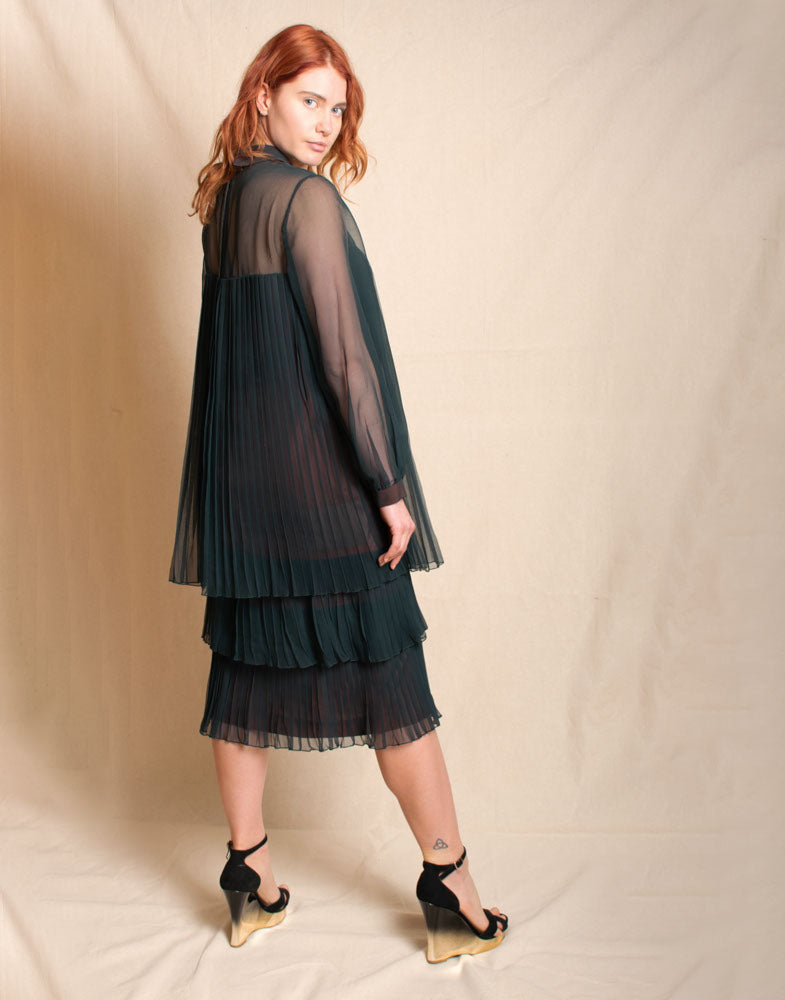 Tiered Pleated Handmade Dress - Vintage