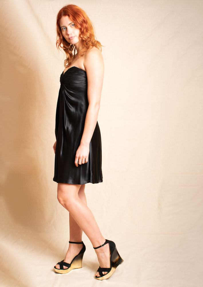 Black Silk Mini Party Dress
