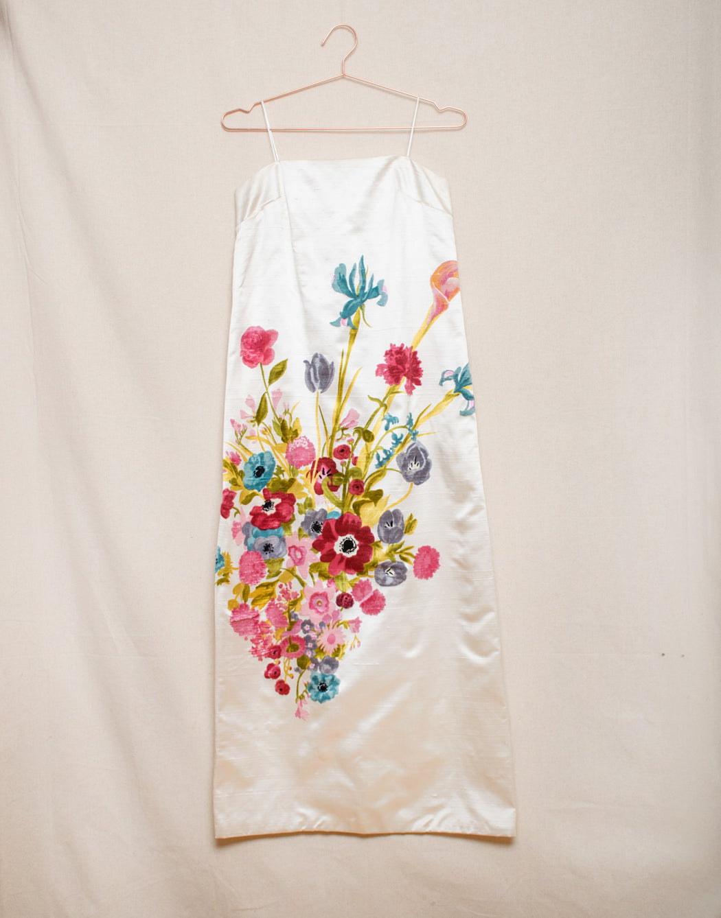 Velvet Flowers on Silk - Maxi Dress