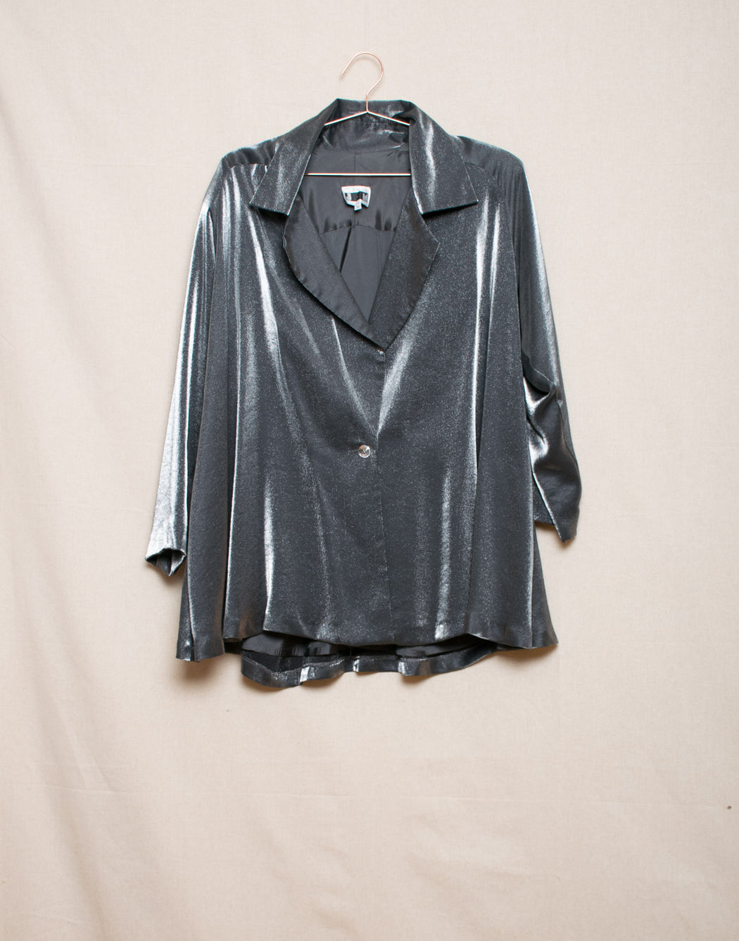 Metallic plus-size swing coat