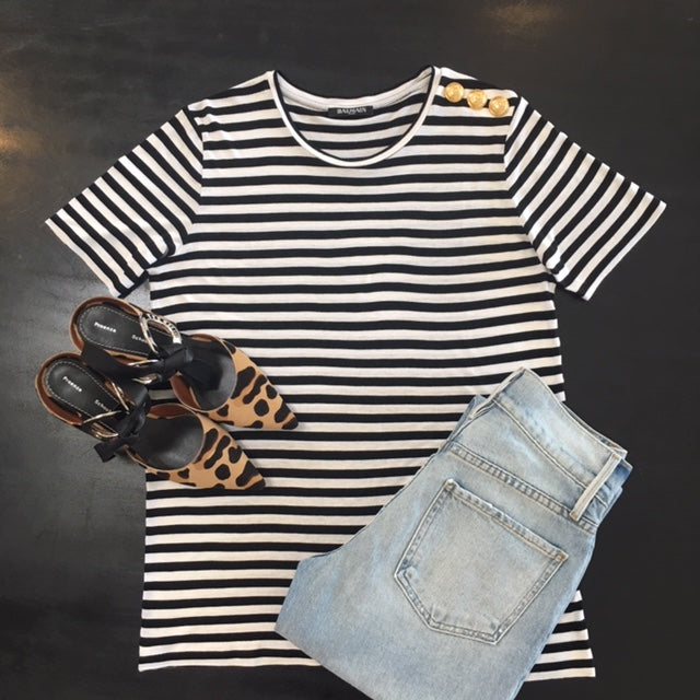 Stripe Tee and Leopard shoes
