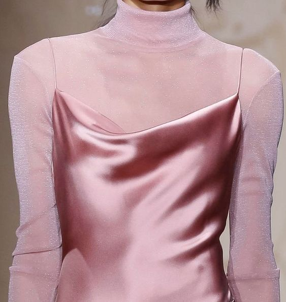 Pink Silk slip dress and turtle neck top