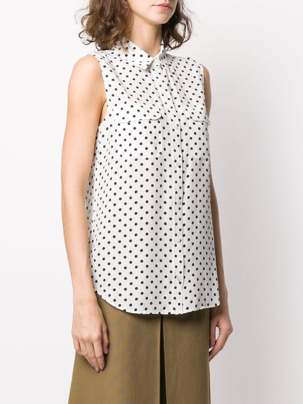 Equipment Sleeveless Slim Signature Polka Dot Shirt - Nature White/ Eclipse