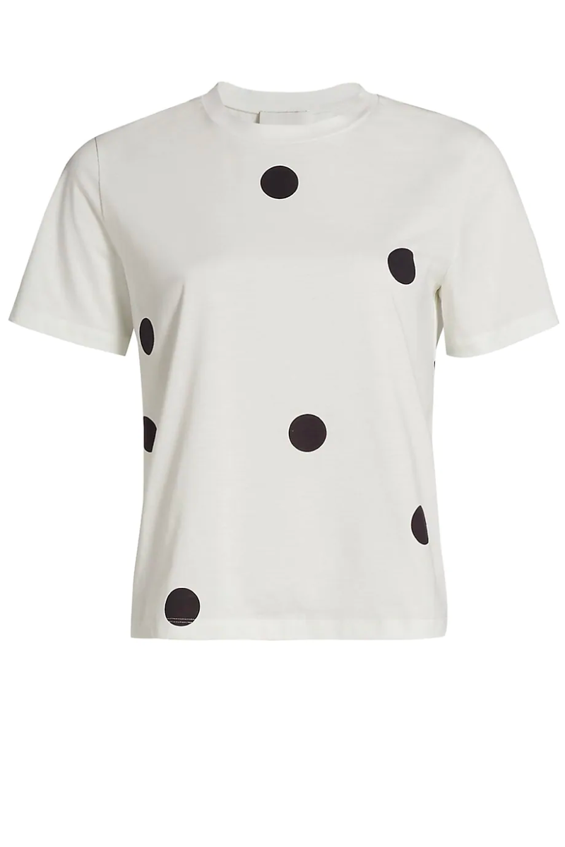 3.1 Phillip Lim S212-1800DPS Dot Print T-Shirt - Antique White/ Black