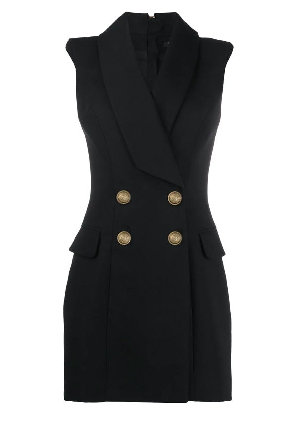 Balmain Sleeveless 4 Button Dress - Black (4626475974791)