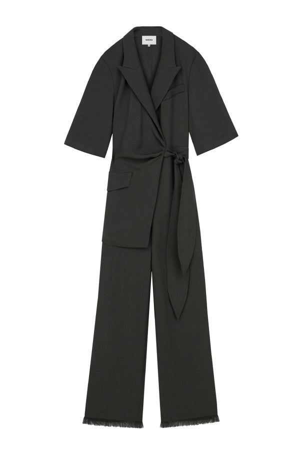 Nanushka Astero Tech Linen Wrap Jumpsuit - Amazon Green