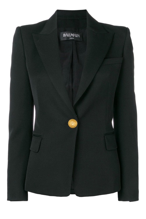 Balmain Single Button Classic Wool Blazer - Black/ Gold