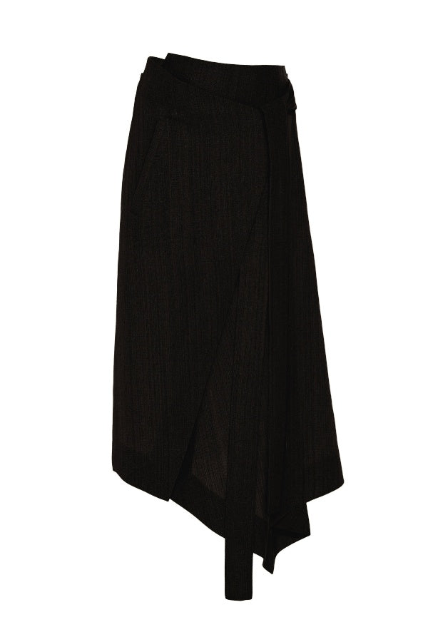 Petar Petrov Roxane Asymmetric Wrap Skirt - Black (4728710824071)