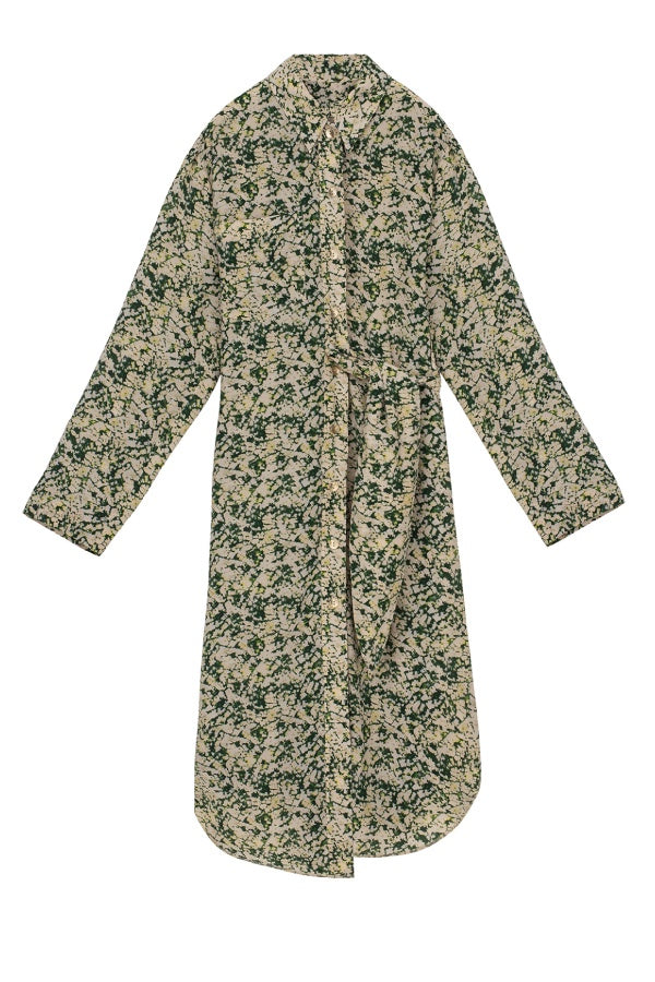 Nanushka Mona Silk Dress - Green Mould