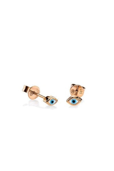 Sydney Evan Mini Enamel Evil Eye Stud Earrings - Rose Gold
