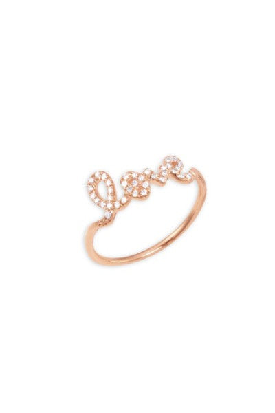 Sydney Evan Rose Gold 'Love' Ring