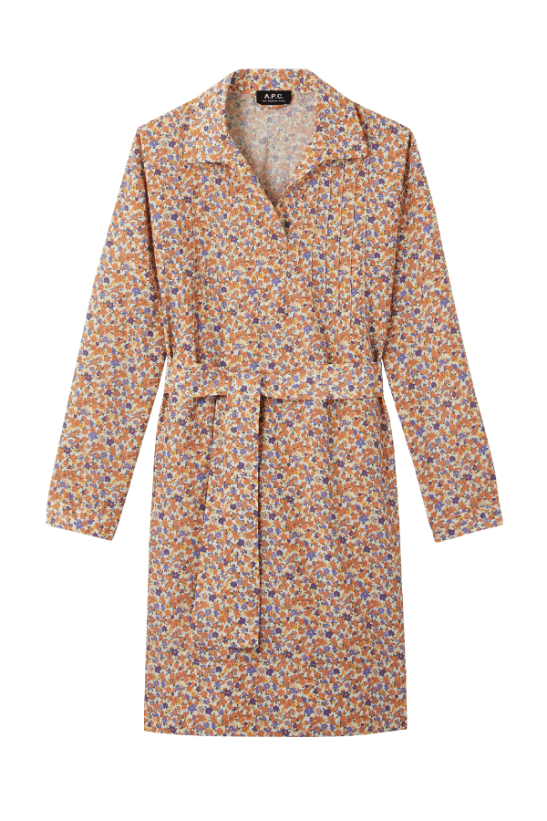 A.P.C COENC-F05872 Melissa Cotton Silk Floral Print Dress - Orange