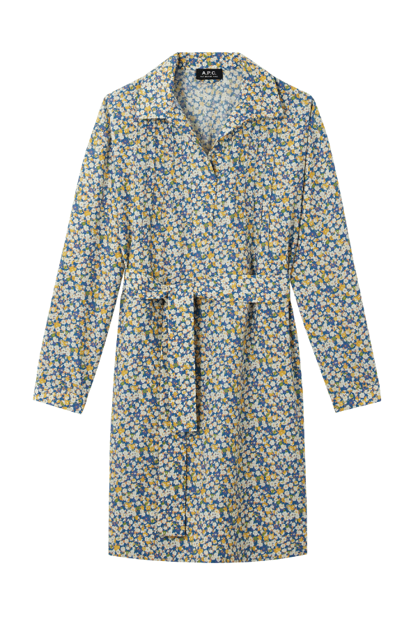 A.P.C COENC-F05872 Melissa Cotton Silk Floral Print Dress - Blue